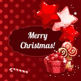 Christmas banner design. Christmas banner with gifts, balloons and candy Stock Images
