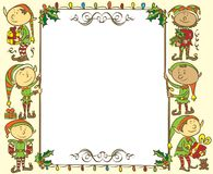 Christmas banner with elves - Illustration Stock Photo