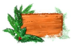 Christmas banner with fir branches. royalty free stock photography