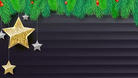 Christmas banner with fir branches, gold and silver stars on dark wooden backdrop. Festive atmosphere, 3D illustration. Template for New Year or Christmas Royalty Free Stock Photo