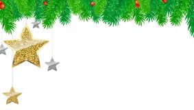 Christmas banner with fir branches, gold and silver stars, isolated on white background. Festive atmosphere, 3D. Christmas banner with fir branches, gold and Stock Photography