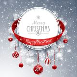 Christmas banner with fir branches. And red balls on snow sparkling background. Vector illustration Stock Photos