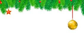Christmas banner with fir branches and red berries. Festive atmosphere. Editable vector 3D illustration. Template for. New Year or Christmas greetings card Royalty Free Stock Photos