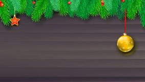 Christmas banner with fir branches and red berries on wooden backdrop. Christmas banner with fir branches and red berries on wooden backdrop. Festive atmosphere Stock Photography