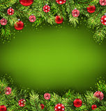 Christmas Banner with Fir Sprigs and Glass Balls Stock Images
