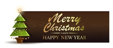 Christmas banner with fir-tree. Merry Christmas and Happy New Year. Vector illustration Stock Photos