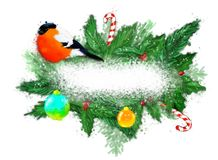 Christmas banner with fir wreath and bullfinch. stock image