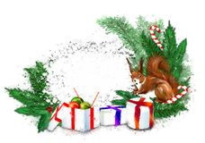 Christmas banner with fir wreath, gifts and squirrel. royalty free stock image