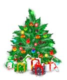 Christmas banner with fir wreath, gifts and squirrel. stock photos