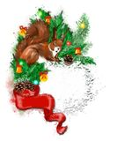 Christmas banner with fir wreath, gifts and squirrel. stock images