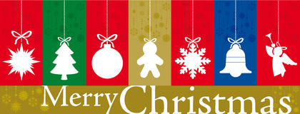 Christmas banner with flat icons. Christmas banner made with a set of different vertical greetings card with empty shapes for text Stock Photos