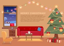 Christmas banner with flat vector illustration of living room decorated for holidays. Cozy home interior with furniture, sofa, vector illustration