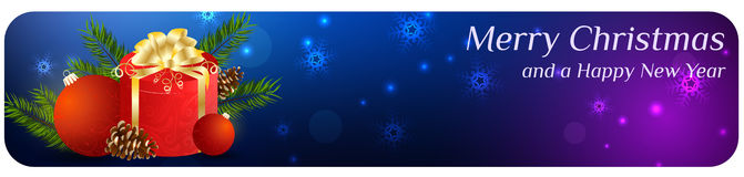 Christmas banner with gift and baubles Stock Image