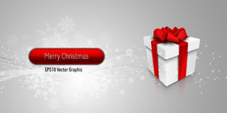 Christmas Banner with Gift Box Stock Image