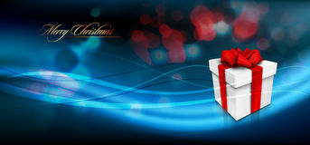 Christmas Banner with Gift Box and Ribbon Bow Stock Images