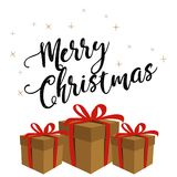 Christmas banner with gift boxes Stock Photos