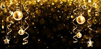 Christmas Banner - Glitter With Hanging Shiny Balls stock photography