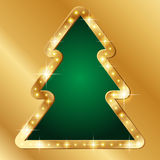 Christmas banner. Banner with gold borders in the shape of xmas tree. Festive background for Christmas Stock Photography