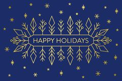 Christmas banner, gold geometric snowflakes and shapes on dark blue background with text Happy Holidays. Greeting card design template royalty free illustration