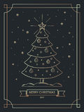 Christmas banner in gold outline linear style. Christmas greeting card. Vector Illustration. Stock Image