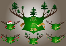 Christmas banner with green horns. Stock Image