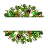 Christmas banner with green and silver fir branches, balls, cones, holly and mistletoe. Vector eps-10 Royalty Free Stock Photos