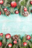 Christmas banner with green tree, red and white handmade felt decorations on white wooden textured background Stock Photos