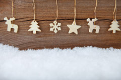 Christmas banner. With hanging decoration royalty free stock photos