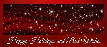Christmas banner happy holidaysand best wishes with stars stock photo