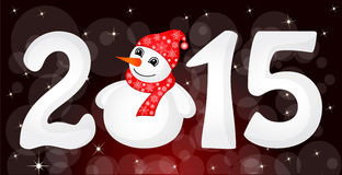Christmas banner. Happy New Year 2015 From Snow With Snowman and Santa Hat Stock Photos