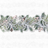 Christmas banner with hoarfrost branches and holly.Greeting card Stock Images