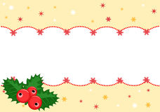 Christmas banner with holly Stock Photo