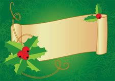 Christmas banner with hollyand vintage scroll Stock Photography