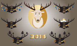 Christmas banner with horns and a deer on a black background. Stock Photos