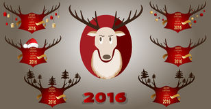 Christmas banner with horns and a reindeer on a red background. Stock Photography