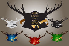 Christmas banner with horns and ribbon. Stock Photo