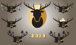 Christmas banner with horns and stag on a gold background. Royalty Free Stock Photography