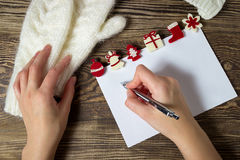 Christmas banner. Letter to Santa Claus. Wish list. Winter background. Royalty Free Stock Photos