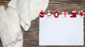 Christmas banner. Letter to Santa Claus. Wish list. Winter background. Stock Photo