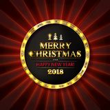 Christmas banner with light bulbs. Merry Christmas greetings card with Christmas holly. Christmas and new year background for design for banners, flyers Royalty Free Stock Photos