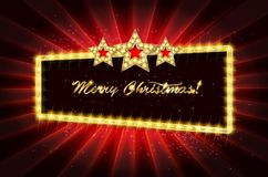 Christmas banner with light bulbs. Merry Christmas greetings card with Christmas holly. Christmas and new year background for design for banners, flyers Royalty Free Stock Photography