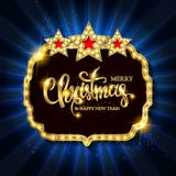 Christmas banner with light bulbs. Merry Christmas greetings card with Christmas holly. Christmas and new year background for design for banners, flyers Royalty Free Stock Photo