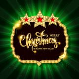 Christmas banner with light bulbs. Merry Christmas greetings card with Christmas holly. Christmas and new year background for design for banners, flyers Stock Photos