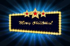 Christmas banner with light bulbs. Merry Christmas greetings card with Christmas holly. Christmas and new year background for design for banners, flyers Stock Image