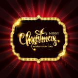 Christmas banner with light bulbs. Merry Christmas greetings card with Christmas holly. Christmas and new year background for design for banners, flyers Royalty Free Stock Images