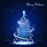Christmas Banner with Neon Shiny Xmas Tree. Beautiful Merry Christmas Banner with Shiny Christmas Tree Illuminated with Lights Isolated on Night Snowy Winter royalty free illustration