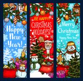 Christmas banner with New Year holiday sketches. Christmas festive banner with New Year winter holiday sketches. Santa Claus, snowman and Xmas tree greeting card Royalty Free Stock Photos