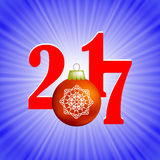 Christmas Banner. 2017 New Year Poster. On Blue Winter Background Royalty Free Stock Image