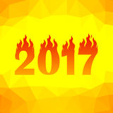 Christmas Banner. 2017 New Year Poster. On Yellow Orange Polygonal Background Stock Photo