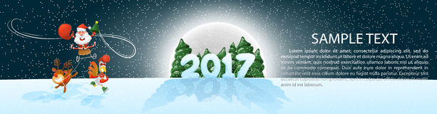 Christmas, banner 2017, panoramma. Jolly Santa on sleigh with deer and a rooster. Vector illustration with design elements. Moonli Royalty Free Stock Photo